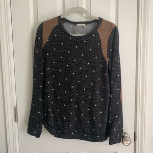 Polkadot and brown suede sweater